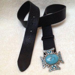Olga Santina Black Leather Turquoise Buckle M